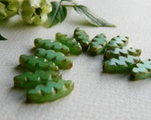 Table Cut Beads Czech Glass Beads Carved Spindle Leaf Small Light Green Opal with rustic Picasso 18x8mm (10pcs) NEW