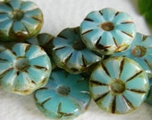 Flower Beads Czech Glass Beads Table Cut Daisy Coin Small Washed Coral Blue Opal with rustic Picasso 12mm (10pcs)