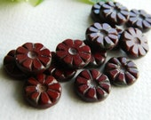 Flower Beads Czech Glass Beads Table Cut Daisy Coin Small Opaque Dark Red / Cocoa with rustic Picasso 12mm (10pcs) NEW