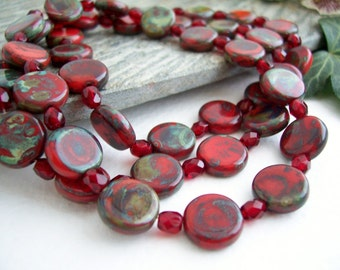 Czech Glass Beads, Coin Beads, Opaque RED with blue/olive Picasso 10mm (12pcs)