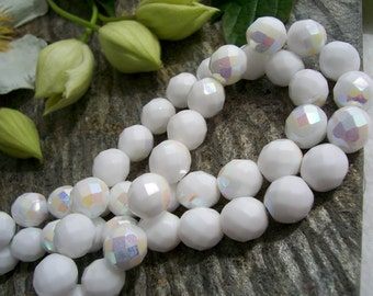 Opaque white AB Czech glass beads, fire polished round  8mm beads, Opaque Snow White with AB (20pcs)