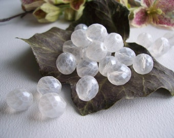 Faceted Round Czech Glass Beads Fire Polished  10mm Clear Crystal with Antique Matte Finish (20pcs)