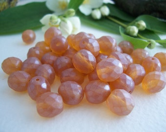 Faceted Round Czech Beads, Glass Fire Polished Beads 8mm ,Amber Topaz  & Special Antique Matt Finish (25pcs)