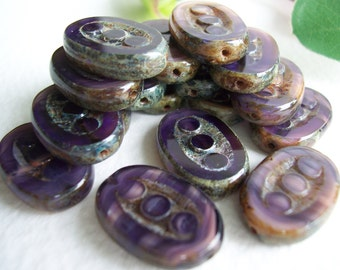 Table Cut Czech Beads Sliced Oval 3-dot  beads 17x14mm Marbled Purple/Rosaline with Rustic Olive/Brown Picasso (8pcs)