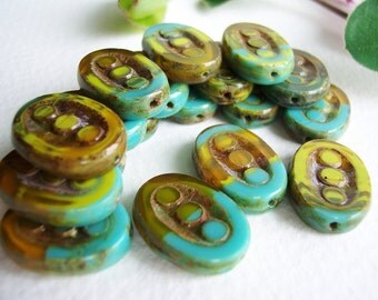 WHOLESALE Picasso Table Cut Czech Beads Oval 3-dot Beads Glass 17x14mm Marbled Turquoise Topaz Yellow & Rustic Olive/Brown Picasso (50pcs)
