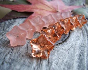 Flower Beads Czech Glass Beads  Large 5-Petal Trumpet Clear and Matte Rosaline Mix 8X13mm (12pcs)