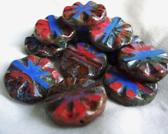 Table Cut Czech Glass Beads Chunky Sunflower X-Large Coin 18mm Opaque Hurricane Cobalt Blue/ Red/Topaz with rustic Picasso (8pcs)