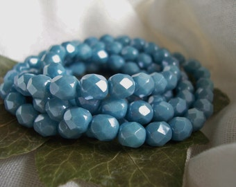 Czech Glass Fire Polished Faceted Round Beads 5mm Opaque Powder Blue & Luster (50pcs)