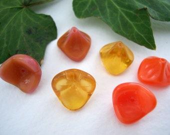 Flower beads Czech Glass Beads Large 3-Petal Trumpet Flower 12x10mm Orange/Topaz Mix (12pcs)