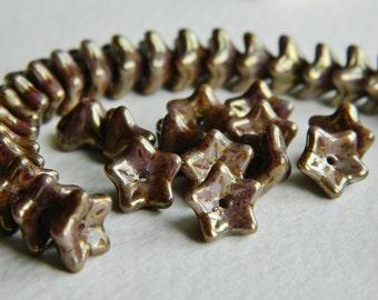 FLOWER Czech beads Glass 5-petal Trumpet Flower Small 6X9mm Opaque Lilac & Lilac / Bronze Metallic Picasso (20pcs) NEW