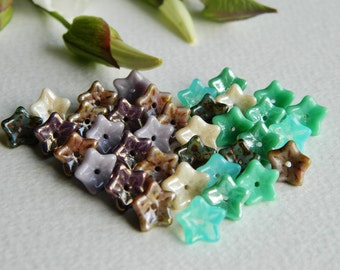 FLOWER Czech beads Glass 5-petal Trumpet Flower Small 6X9mm Lilac, Amethyst, Ivory & Turquoise  Mix (36pcs) NEW