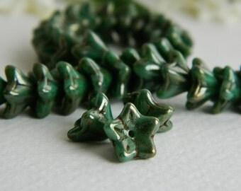 FLOWER Czech beads Glass 5-petal Trumpet Flower Small 6X9mm Opaque Green Turquoise & metallic Picasso (12pcs) NEW