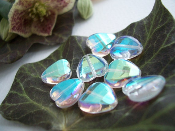 Faceted Heart Beads Czech Glass Beads Fire Polished 12mm Clear Crystal with Iridescent AB half Coating (12pcs)