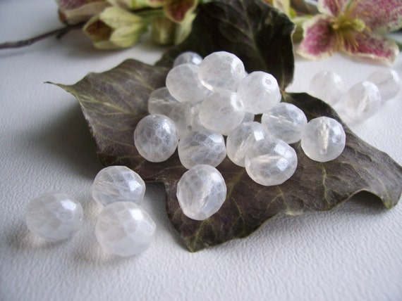 Czech Glass Beads Fire Polished Faceted Round 10mm Clear Crystal with Antique Matt Finish (20pcs)