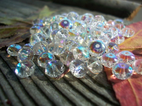 Rondelle Beads Czech Glass Beads Fire Polished Faceted Spacers 4X7mm Classic Clear Crystal with AB (50pcs)