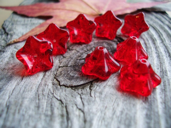Flower beads Czech Glass Beads 5-Petal Trumpet Flower Large  8X13mm Dark Red (12pcs) Last Lots
