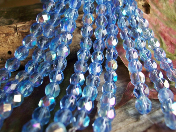 Czech Glass Beads Fire Polished Faceted Round  6mm Lighter Shade of Sapphire with Iridescent AB Finish (50pcs)