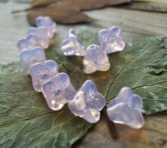 Flower Beads Czech glass pressed 4-petal bell beads 6X6mm Light Lavender Opal (10pcs)