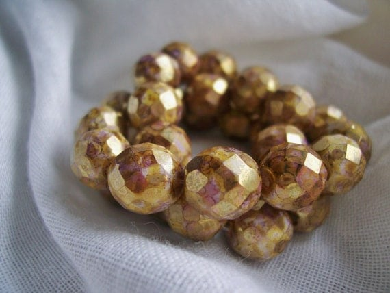 Faceted Round Czech Glass Beads Fire Polished 10mm Chalk White with Mottled Golden Picasso and  Luster (10pcs)