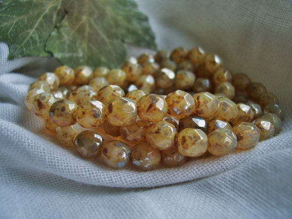 Faceted Round Czech Beads Fire Polished OPAL Crystal with Mottled Silver Picasso 6mm (40pcs) Finish