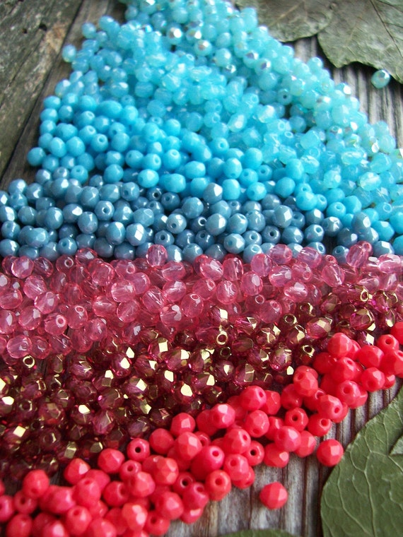 Small Czech Glass Fire Polished Faceted Round Beads 4mm gorgeous Pink & Blue MIX (210pcs)