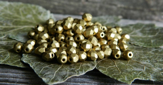 Czech Glass Beads Fire Polished Faceted Round  4mm Matte Metallic Aztec Gold  (100pcs) Last Lot