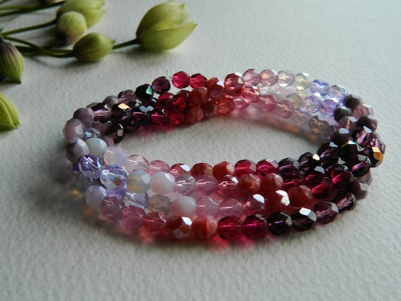Faceted Round Czech Beads Glass Fire Polished 6mm Pinks & Purples Mix (68pcs) Last Lots