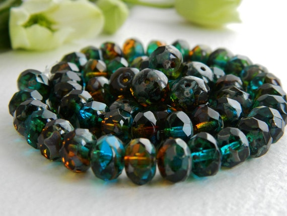 Faceted Rondelles Czech Glass Beads Fire Polished Spacers 6X8mm Bi-Colour Deep BlueTeal & Amber Topaz with Picasso (12pcs) NEW