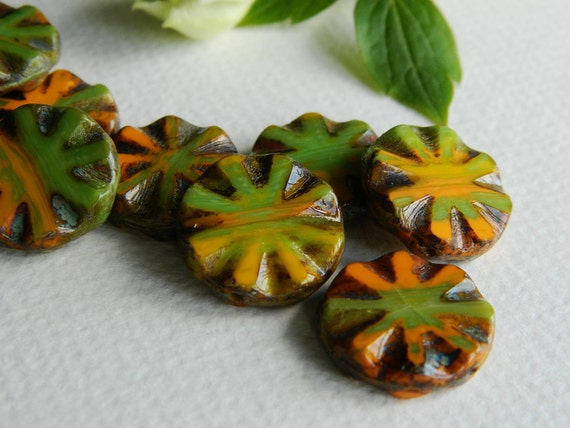 Glass Beads Table Cut Beads Czech Beads Chunky  Coin Beads 18mm Marbled Opaque Orange Yellow & Pea Green with rustic Picasso (6pcs)