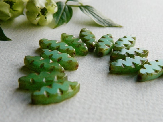 WHOLESALE Picasso Table Cut Beads Czech Glass Beads Carved Spindle Leaf Small Light Green Opal with rustic Picasso 18x8mm (50pcs) NEW