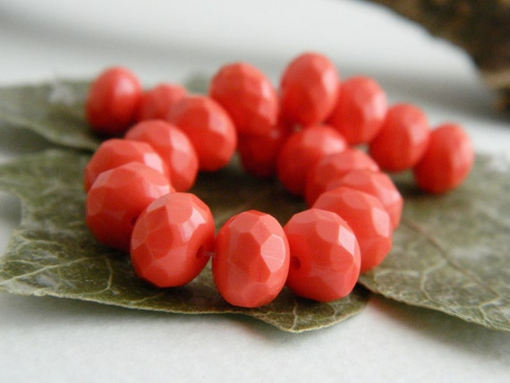Faceted Rondelle Czech Glass Fire Polished Beads Spacers 6X9mm Opaque Persimmon (20pcs)