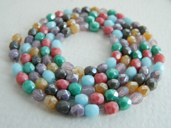 Czech Glass Beads Fire Polished Faceted Round  4mm Trendy Lilac / Blue & Pink MIX (210pcs)