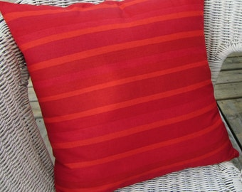"""Red Marimekko pillow cover """"Onnellinen"""" Happy, Holiday hostess gift, Christmas decor, FREE SHIPPING Canada and US"""