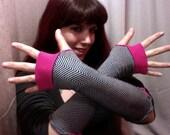 Upcycled Fishbone Black, White, Fushia Arm Warmers - Hand Warmers - Fingerless Gloves
