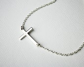 Sideways Cross Necklace - Sterling Silver
