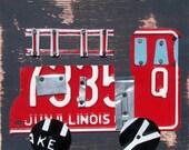 License Plate Art - Farm City Fire Truck Firetruck Transportation - Recycled Art Company - Salvaged Wood - Upcycled Artwork