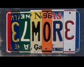 License Plate Art Sign - Funky Name Word Block Personalized with your Child's Name - Last Name - Wedding - Recycled Art Company