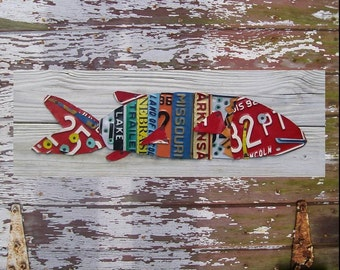 License Plate Art - Beach One Fish Two Fish Red Fish - Nautical Awesome Blue Recycled Art Company - Salvaged Wood - Upcycled Artwork