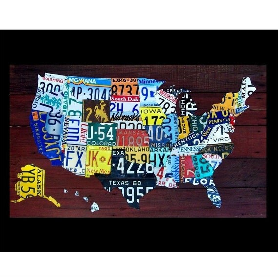 Original United States Map Print - Recycled Vintage License Plate Art - Salvaged Wood - Upcycled Artwork