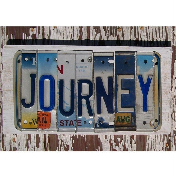 License Plate Sign - Funky Journey Word Block - Custom Words Available - Recycled Vintage Art - Salvaged Wood - Upcycled Artwork