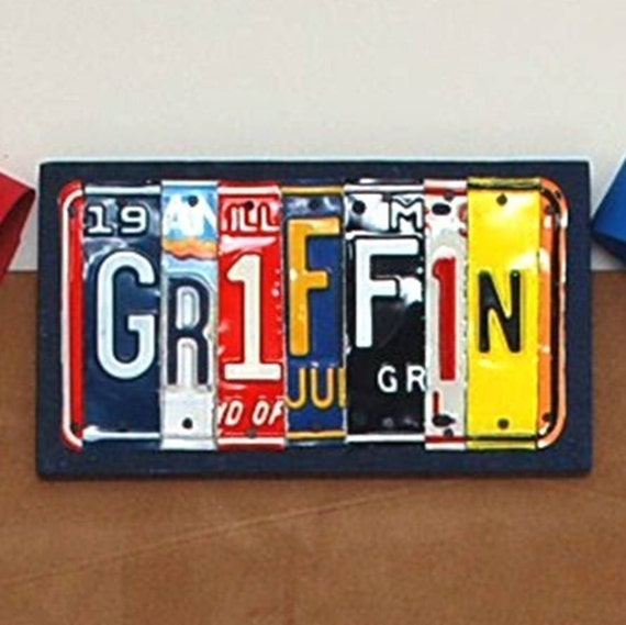 License Plate Sign - Funky Name Word Block Personalized with your Child's Name - Recycled Art Company - Vintage Art