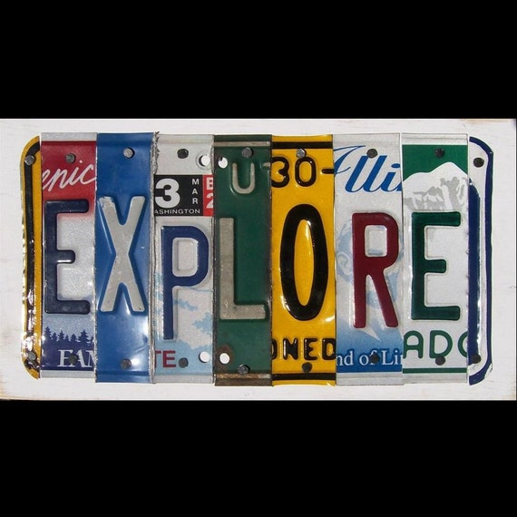 Funky EXPLORE Word Block - Custom Words Available - Recycled Vintage License Plate Sign Art - Salvaged Wood - Upcycled Artwork