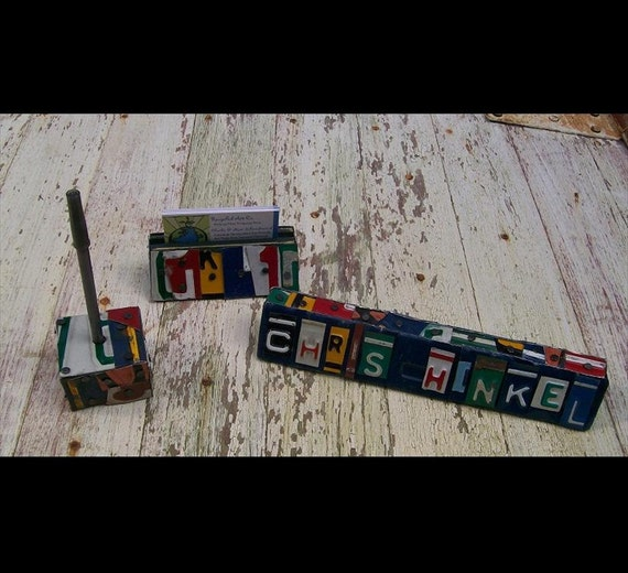 Funky office desk set plaque Word Block - Custom names Available - Recycled License Plate Sign Art - Business Card Holder