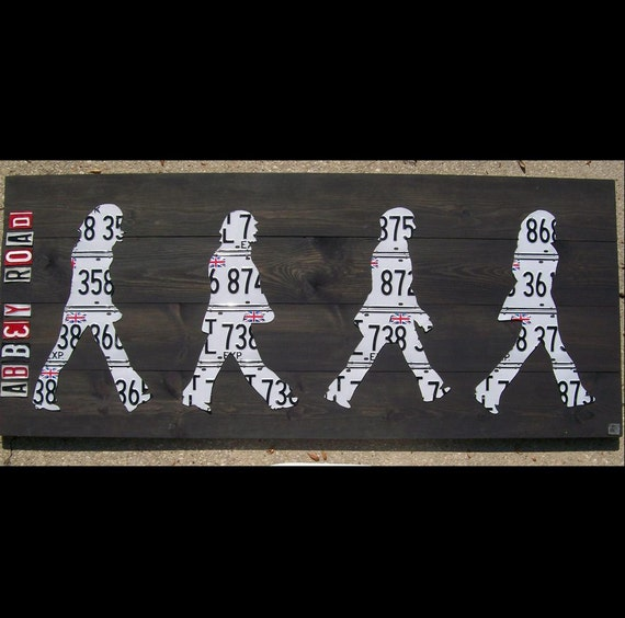 Original Abbey Road Beatles Piece - Recycled Vintage License Plate Art - Salvaged Wood - Upcycled Artwork