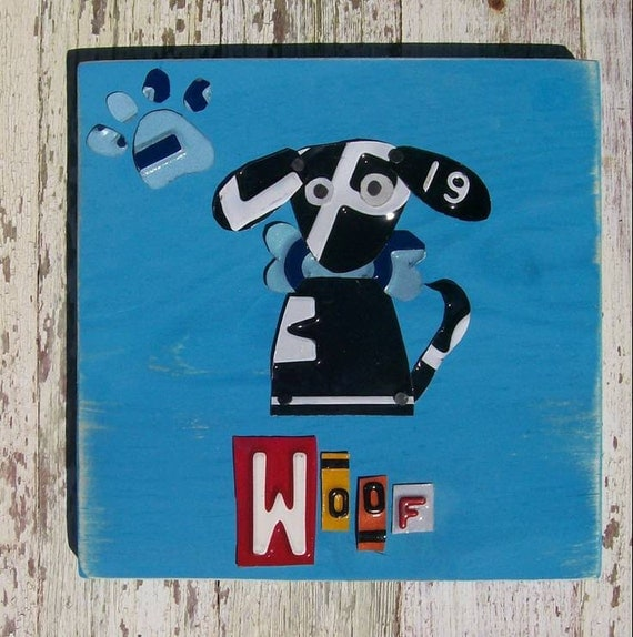 Funky Black Dog with Bone - Awesome Dog -  Recycled License Plate Art - Salvaged Wood - Upcycled Artwork