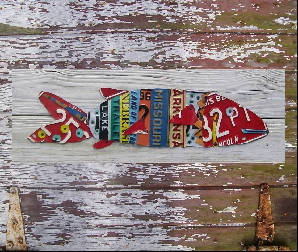 License plate art beach one fish two fish red fish for Fishing license plate