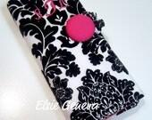 Large Spill Proof  Pink and Black Damask Crochet / Knitting Needle Organizer 30 Pockets See Optional Fabrics