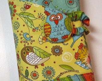 Owls Knitting Case Yellow Aqua Orange Owl Spill Proof  Interchangeable Organizer Circular DPN Combo Tunisian Straight Needles