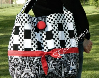 Black and Red  Eiffel Tower Paris Large Tote Bag Purse or Choose Any Fabric French Dots Bow Button Green
