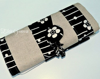 Natural Black Blue or Red Japanese Linen Cherry Blossom or Dragonflies Fabric Spill Proof Knitting Needle Organizer - Case - Roll